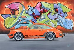 Graffiti Porsche Carrera by Roz Wilson - Original Painting on Stretched Canvas sized 32x22 inches. Available from Whitewall Galleries